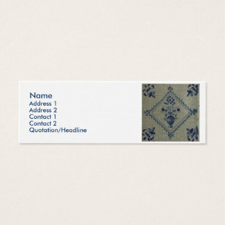 Delft Blue Tile - Vase with Flowers and Bouquet Mini Business Card