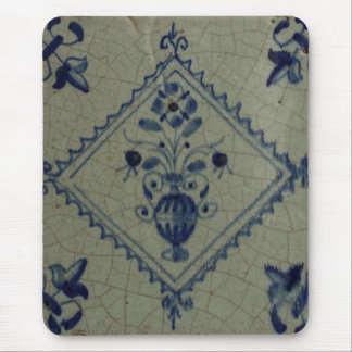 Delft Blue Tile - Vase with Flowers and Bouquet Mouse Pad