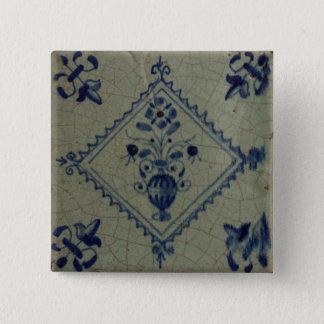 Delft Blue Tile - Vase with Flowers and Bouquet Pinback Button