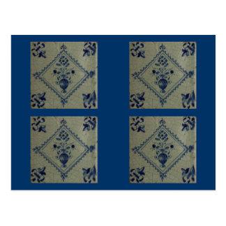 Delft Blue Tile - Vase with Flowers and Bouquet Postcard