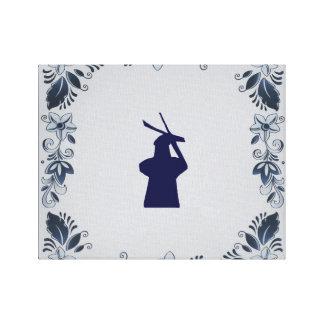 Delft blue tile windmill 'de Roos' in Delft Canvas Print