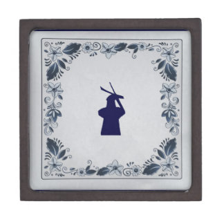 Delft blue tile windmill 'de Roos' in Delft Keepsake Box