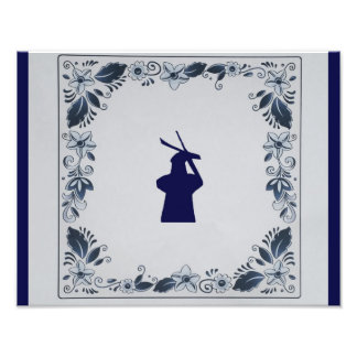 Delft blue tile windmill 'de Roos' in Delft Photo Print