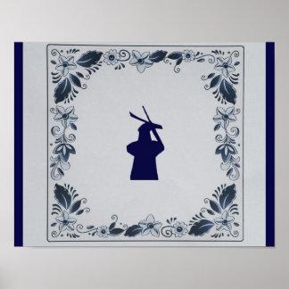 Delft blue tile windmill 'de Roos' in Delft Poster