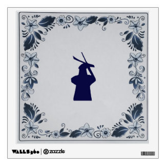 Delft blue tile windmill 'de Roos' in Delft Wall Decal