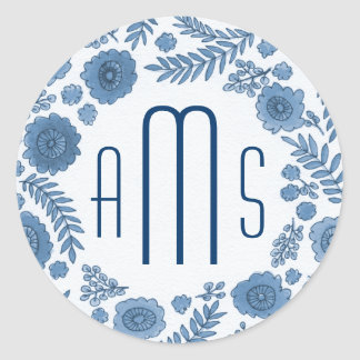 Delft Blue Watercolor Flowers Custom Monogram Round Sticker