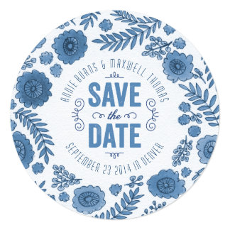 Delft Blue Watercolor Flowers Save the Date Card