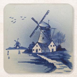 Delft Blue Windmill Vintage Square Paper Coaster