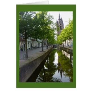 Delft Canal & Oude Kerk Card