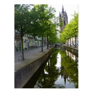 Delft Canal & Oude Kerk Postcard