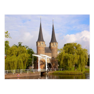 Delft, canals and gateway postcard