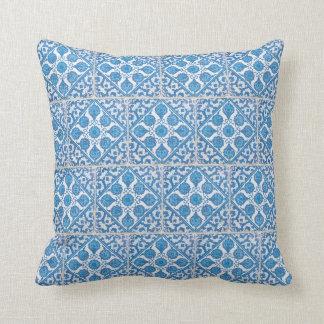 Delft Cornflowers Blue White Faux Tile Pillow