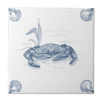 Delft Crab Tile with Shell Corners
