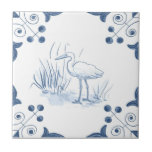 """Delft Crane Tile with Scroll Corners<br><div class=""""desc"""">Blue and white tile reproduced on a smooth surface 4.25&quot; or 6&quot; ceramic tile. Perfect for interior tile wall accents, backsplashes, fireplace surrounds, bathroom and showers walls, kitchens and craft projects. Not intended for outdoor use. Our tiles are copies of costly authentic original antique tiles. Suggestion: Order one tile to...</div>"""