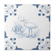 Delft Crane Tile with Scroll Corners