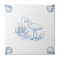 Delft Crane Tile with Shell Corners