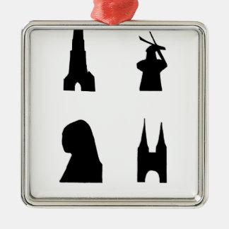 Delft dark silhouette metal ornament