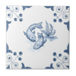 "Delft Fish Tile with Scroll Corners<br><div class=""desc"">Blue and white tile reproduced on a smooth surface 4.25&quot; or 6&quot; ceramic tile. Perfect for interior tile wall accents, backsplashes, fireplace surrounds, bathroom and showers walls, kitchens and craft projects. Not intended for outdoor use. Our tiles are copies of costly authentic original antique tiles. Suggestion: Order one tile to...</div>"
