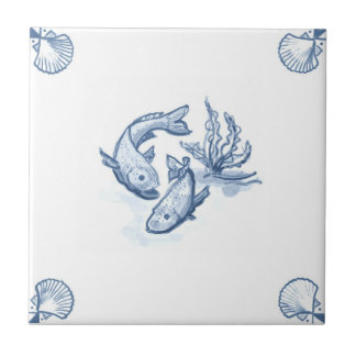 Delft Fish Tile with Shell Corners