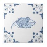 Delft Frog Tile with Scroll Corners