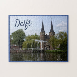 Delft Gate (Oostpoort) with text Jigsaw Puzzle