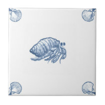 Delft Hermit Crab Tile with Shell Corners