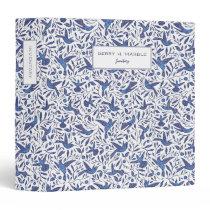 Delft Humming Birds & Leaves Pattern Office 3 Ring Binder