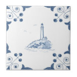 """Delft Lighthouse Tile with Scroll Corners<br><div class=""""desc"""">Blue and white tile reproduced on a smooth surface 4.25&quot; or 6&quot; ceramic tile. Perfect for interior tile wall accents, backsplashes, fireplace surrounds, bathroom and showers walls, kitchens and craft projects. Not intended for outdoor use. Our tiles are copies of costly authentic original antique tiles. Suggestion: Order one tile to...</div>"""
