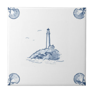 Delft Lighthouse Tile with Shell Corners