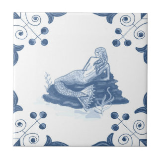 Delft Mermaid Tile with Scroll Corners