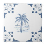 "Delft Palm Tile with Scroll Corners<br><div class=""desc"">Blue and white tile reproduced on a smooth surface 4.25&quot; or 6&quot; ceramic tile. Perfect for interior tile wall accents, backsplashes, fireplace surrounds, bathroom and showers walls, kitchens and craft projects. Not intended for outdoor use. Our tiles are copies of costly authentic original antique tiles. Suggestion: Order one tile to...</div>"