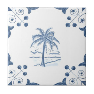 Delft Palm Tile with Scroll Corners