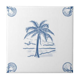 Delft Palm Tree Tile with Shell Corners