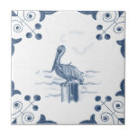 "Delft Pelican Tile with Scroll Corners<br><div class=""desc"">Blue and white tile reproduced on a smooth surface 4.25&quot; or 6&quot; ceramic tile. Perfect for interior tile wall accents, backsplashes, fireplace surrounds, bathroom and showers walls, kitchens and craft projects. Not intended for outdoor use. Our tiles are copies of costly authentic original antique tiles. Suggestion: Order one tile to...</div>"