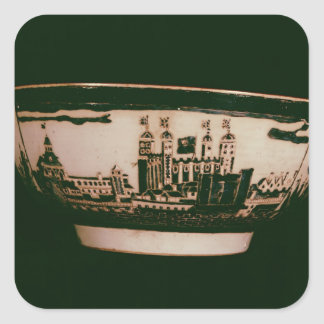 Delft plate with views of the Tower of London Square Sticker