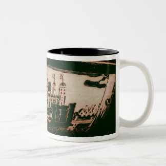 Delft plate with views of the Tower of London Two-Tone Coffee Mug