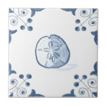"Delft Sand Dollar Tile with Scroll Corners<br><div class=""desc"">Blue and white tile reproduced on a smooth surface 4.25&quot; or 6&quot; ceramic tile. Perfect for interior tile wall accents, backsplashes, fireplace surrounds, bathroom and showers walls, kitchens and craft projects. Not intended for outdoor use. Our tiles are copies of costly authentic original antique tiles. Suggestion: Order one tile to...</div>"