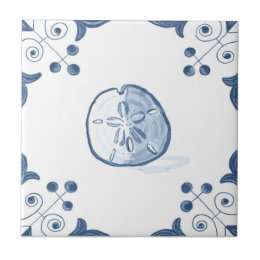 Delft Sand Dollar Tile with Scroll Corners