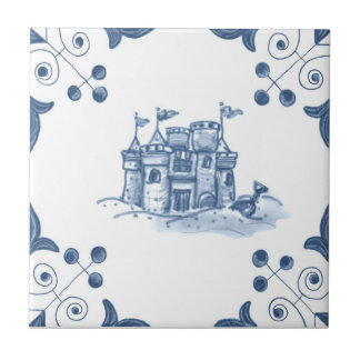 Delft Sandcastle Tile with Scroll Corners