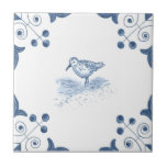 "Delft Sandpiper Tile with Scroll Corners<br><div class=""desc"">Blue and white tile reproduced on a smooth surface 4.25&quot; or 6&quot; ceramic tile. Perfect for interior tile wall accents, backsplashes, fireplace surrounds, bathroom and showers walls, kitchens and craft projects. Not intended for outdoor use. Our tiles are copies of costly authentic original antique tiles. Suggestion: Order one tile to...</div>"
