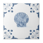 "Delft Scallop Tile with Scroll Corners<br><div class=""desc"">Blue and white tile reproduced on a smooth surface 4.25&quot; or 6&quot; ceramic tile. Perfect for interior tile wall accents, backsplashes, fireplace surrounds, bathroom and showers walls, kitchens and craft projects. Not intended for outdoor use. Our tiles are copies of costly authentic original antique tiles. Suggestion: Order one tile to...</div>"