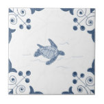 "Delft Sea Turtle Tile with Scroll Corners<br><div class=""desc"">Blue and white tile reproduced on a smooth surface 4.25&quot; or 6&quot; ceramic tile. Perfect for interior tile wall accents, backsplashes, fireplace surrounds, bathroom and showers walls, kitchens and craft projects. Not intended for outdoor use. Our tiles are copies of costly authentic original antique tiles. Suggestion: Order one tile to...</div>"
