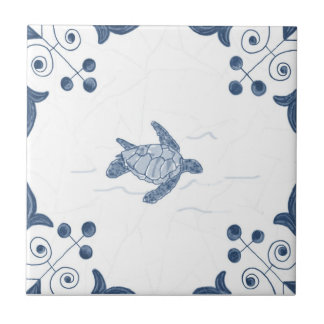Delft Sea Turtle Tile with Scroll Corners