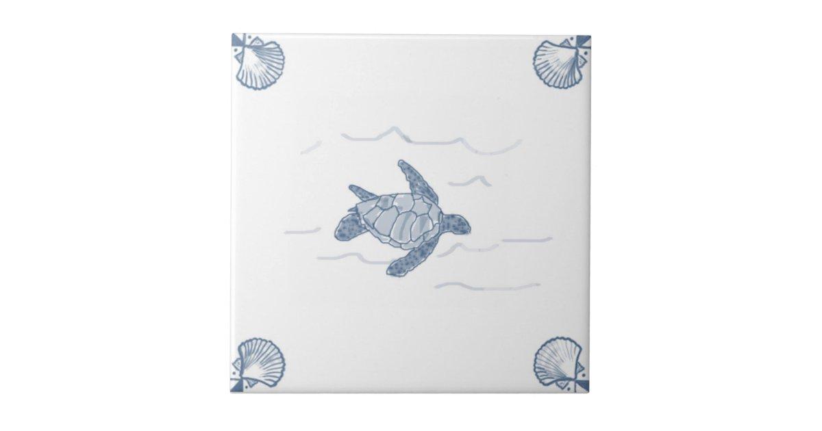Delft Sea Turtle Tile With Shell Corners Zazzle Com