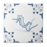 """Delft Seahorse Tile with Scroll Corners<br><div class=""""desc"""">Blue and white tile reproduced on a smooth surface 4.25&quot; or 6&quot; ceramic tile. Perfect for interior tile wall accents, backsplashes, fireplace surrounds, bathroom and showers walls, kitchens and craft projects. Not intended for outdoor use. Our tiles are copies of costly authentic original antique tiles. Suggestion: Order one tile to...</div>"""