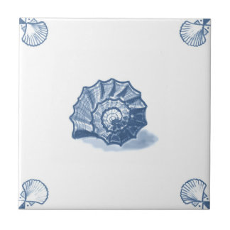 Delft Shell espiral teja con las esquinas de Shell