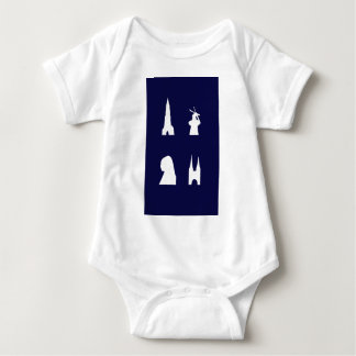 Delft silhouette on blue infant creeper