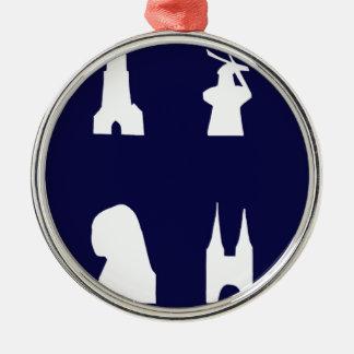 Delft silhouette on blue metal ornament