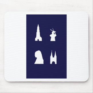 Delft silhouette on blue mouse pad