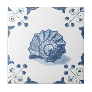 Delft Spiral Shell Tile with Scroll Corners